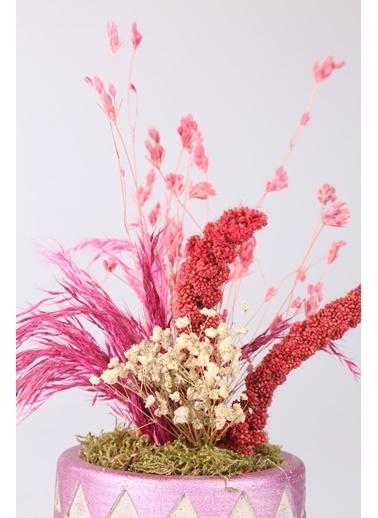 Kibrithane Çiçek Yapay Çiçek  Beton Saksı Kuru Çiçek Aranjman Kc00200750 Renkli